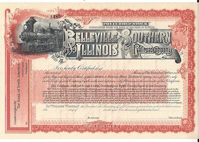 Belleville And Southern Illinois Railroad Company...unissued Stock Certificate