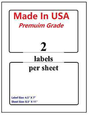"""1000 Premium Shipping Blank Labels-7"""" X 4.5""""-Made in USA-Self Adhesive-8.5 x 11"""