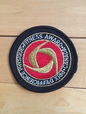 """New Vtg Canada Physical Fitness Award Sew On Embroidered Patch 3"""" Canadian"""