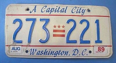 1989 DC License plate A Capital City