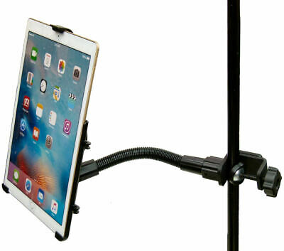 "12"" Flexi Arm Form Fit Music / Mic Stand Clamp Mount for Apple iPad Pro 12.9"""