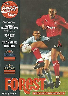 Football Programme - Nottingham Forest v Tranmere R - League Cup 1/4 Final 1994