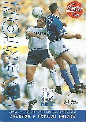 Football Programme - Everton v Crystal Palace - League Cup - 26/10/1993