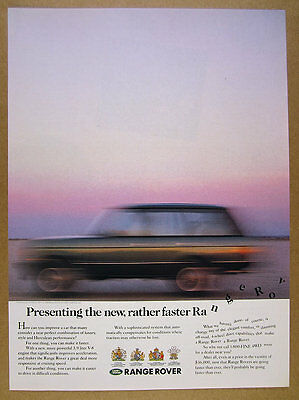 1988 Range Rover Classic 'new, rather faster' blurred photo vintage print Ad