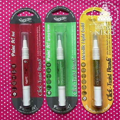 PAINT IT FOOD PEN BRUSH Metalic Gold Spring green red Edible Ink cake decorating