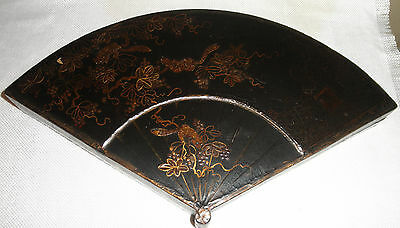 ANTIQUE Japanese Lacquered RAIIJU MARTEN ANIMAL Wood Fan Shaped Box