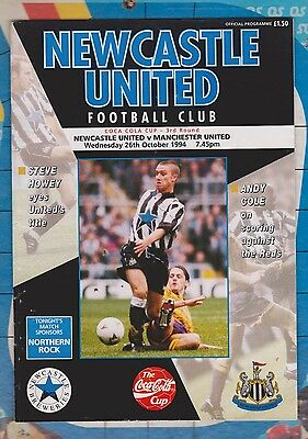 Newcastle United v Manchester United Coca Cola Cup Match Programme 1994