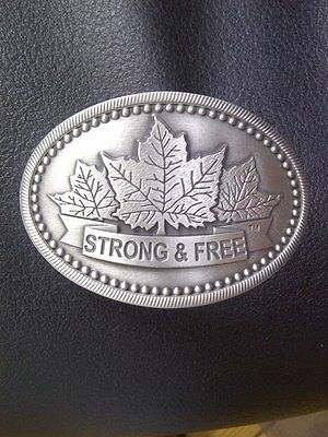 Strong and Free Canada Pewter Belt Buckle