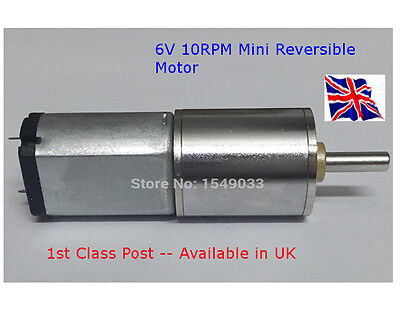 REVERSIBLE 6V - DC Motor 10 RPM -  High Torque Gear Box - Available in UK