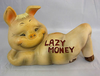 Piggy Bank Made in Japan by Wales Ceramic Vintage Lazy Money