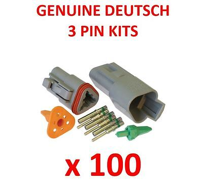 100 x DEUTSCH 3 Pin Connector Kits With Terminals Male Female Plugs Waterproof
