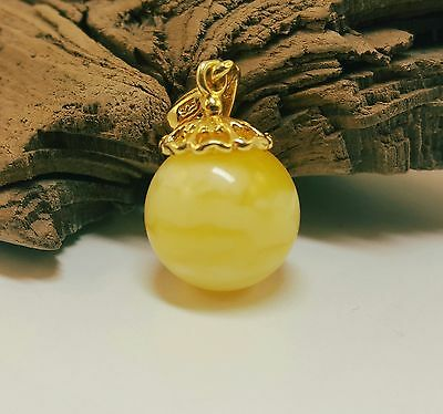 Pendant Amber Natural Stone Nr403 3,1g Butterscotch Egg Yolk Vintage White Old