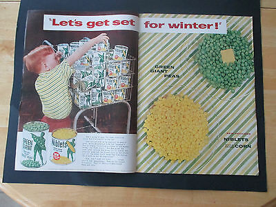 """Vintage 1954 Green Giant Niblets Centerfold 2 Page Color Print Ad, 14"""" X 20.5"""""""