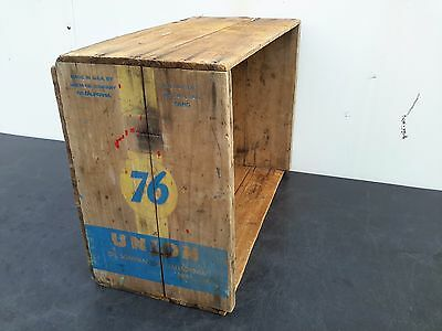 Vintage Union 76 Motor Oil Wood Crate Holds 5 Gallon Cans Wooden Advertising Box