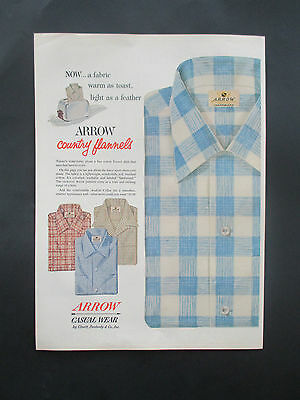 """Vintage 1954 Arrow Country Flannel Shirts Print Ad, 14"""" X 10.25"""""""