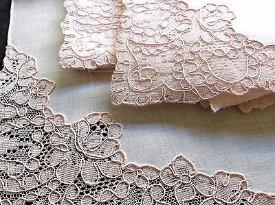 "PINK LACE ~ROSES~ 12 Vintage Linen Napkins FRENCH ALENÇON LACE 17"" Unused Clean"