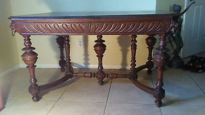 Antique 19th Cen Carved Quarter Sawn Oak Table & 4 Little Embroidered Chairs