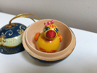 Easter Ukrainian Hand Painted Wooden Toy Box Surprise Ball Ornament w/Chick