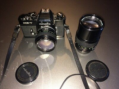 Minolta XE-7 Camera With 50mm 1.4 Lens And 135mm 2.8 Lens.