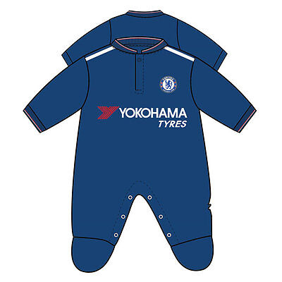Official Chelsea Football Kit Baby Sleepsuit 0-3, 3-6, 6-9, 9-12, 12-18 Months