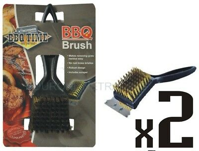 BBQ Brass Bristle Cleaner Brush with Metal Scraper Oven Grill 30cm Heavy Duty
