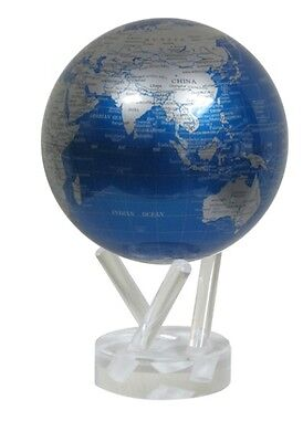 "MOVA Globe- Earth - Cobalt Blue and silver - 15cm/ 6"" - self rotating sphere"