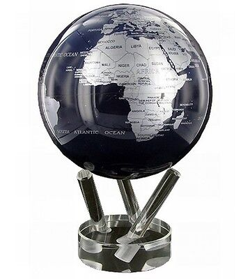 "MOVA Globe- Earth - silver and black - 15cm/ 6"" - self rotating sphere"