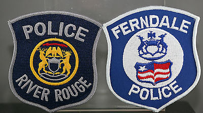 Obsolete Michigan Ferndale & River Rouge Police Shoulder Patches
