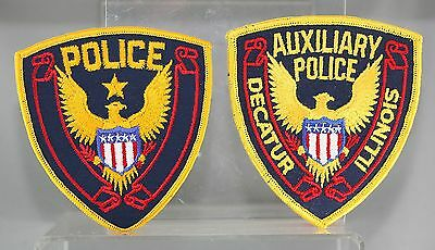 Obsolete Illinois Decatur Police & Auxiliary Police Shoulder Patches