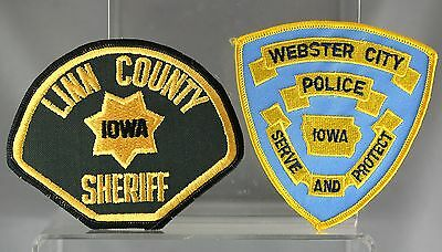 Obsolete Two Iowa Webster City & Linn County Police Shoulder Patches