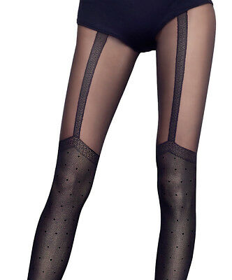 Overknee Imitation Tights Fiore 40 Denier size S M L XL Trendy Polka Dot Pattern