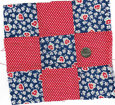 49 Vintage 9 Patch Cotton Fabric Quilt Blocks 1940's, Sewing, Craft, Decor