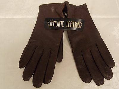 Women's Brown Leather Gloves New & Unused with Tags-Size Medium