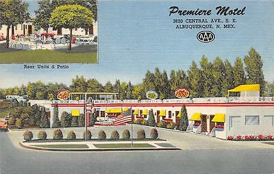 PREMIERE MOTEL Route 66 Albuquerque NM Roadside New Mexico Vintage Postcard 1958