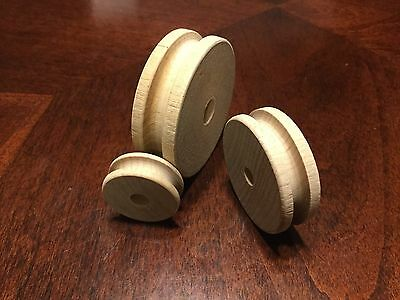 Small Wooden Pulleys For Crafts And Hobby 12 Pack