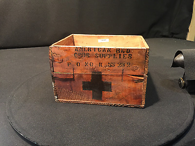 Antique Wood Crate American Red Cross Supplies