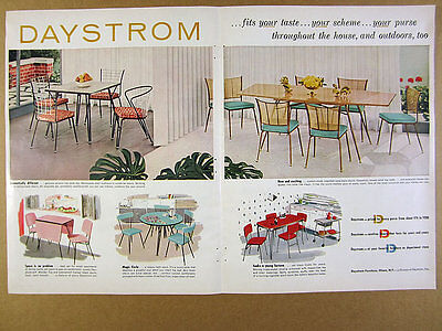 1955 Daystrom Furniture 5 Table & Chair Sets illustrated vintage print Ad
