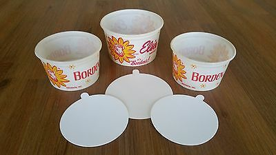 Borden's Elsie Ice Cream 3 cups with lids Vintage old stock