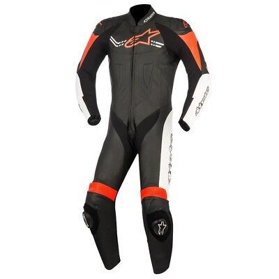 Alpinestars Mens Challenger-V2 1 Piece Race Suit - Black / White / Red Road Moto