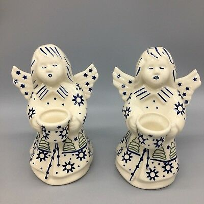 "2 Boleslawiec Polish Pottery Angel Candlestick Holder Christmas Tree Star 7"" NEW"