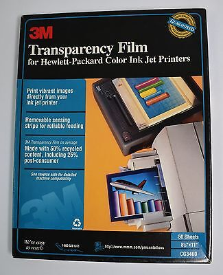 3M Transparency Film for HP Color Ink Jet Printers CG3460 Open Box 39 New Sheets