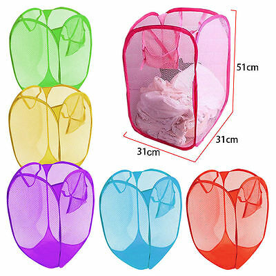 Washing Laundry Pop Up Bag Mesh Foldable Basket Bin Hamper Toy Cloth Storage UK