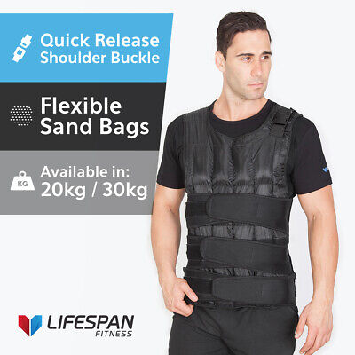 LIFESPAN 20 or 30KG  Vest Adjustable Weight Training Fitness Home/Gym Crossfit