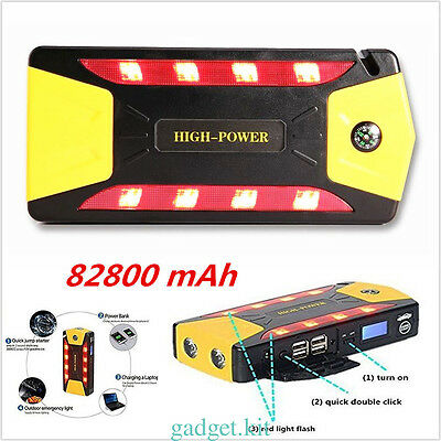 82800mAh 4USB Car Jump Starter Emergency Charger Booster Power Bank AU Plug 12V