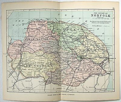 Original Philips 1892 Map of The County of Norfolk, England