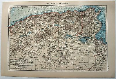 Original 1895 German Map of Algeria & Tunisia by Velhagen & Klasing