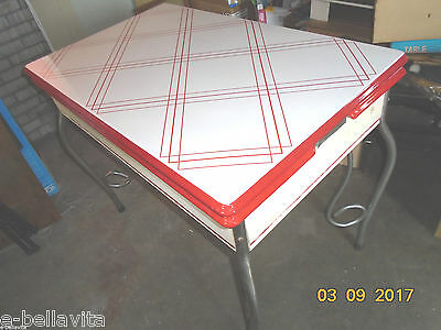 Vintage Porcelain Top Kitchen Table-Red&white