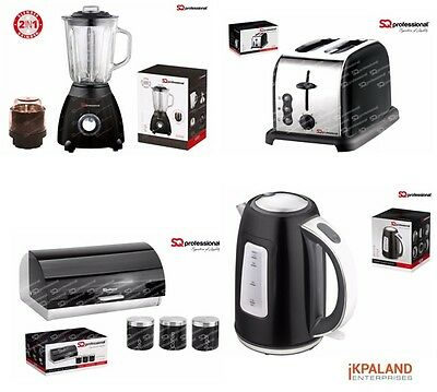 Matching Set: Kettle + Toaster + Bread bin and canister + Blender- Black