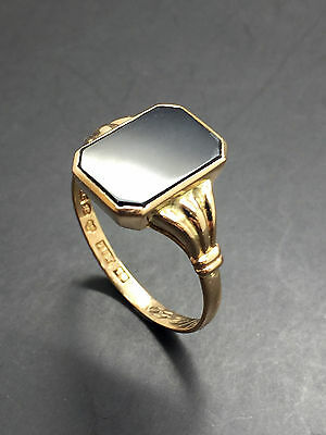 18ct Yellow Solid Gold Black Onyx Signet Ring