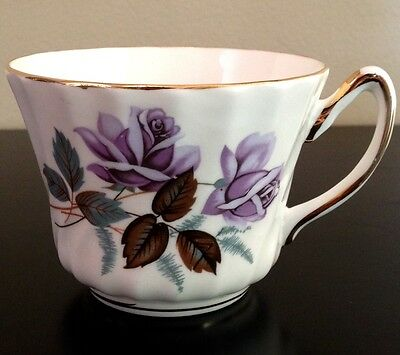 Antique Royal Kendall Fine Bone China Floral Teacup with Gold Trim